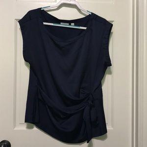 NY&Co XL blue blouse,side tie,pleat,dolman sleeve